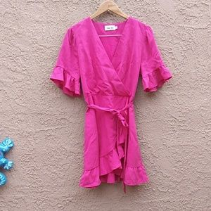 Line & Dot Fuschia Pink Ruffle. Mini Dress. L